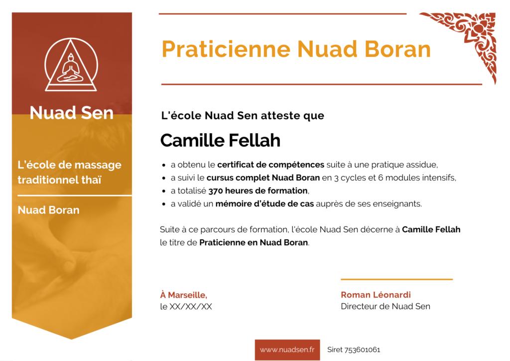 certificat massage thaï